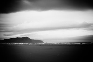 BW Beach with Clouds