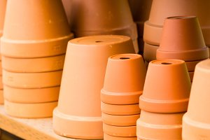 Clay pottery ready for planting