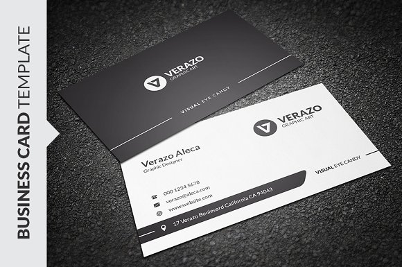 Clean black white business card business card templates clean black white business card business card templates creative market flashek Images