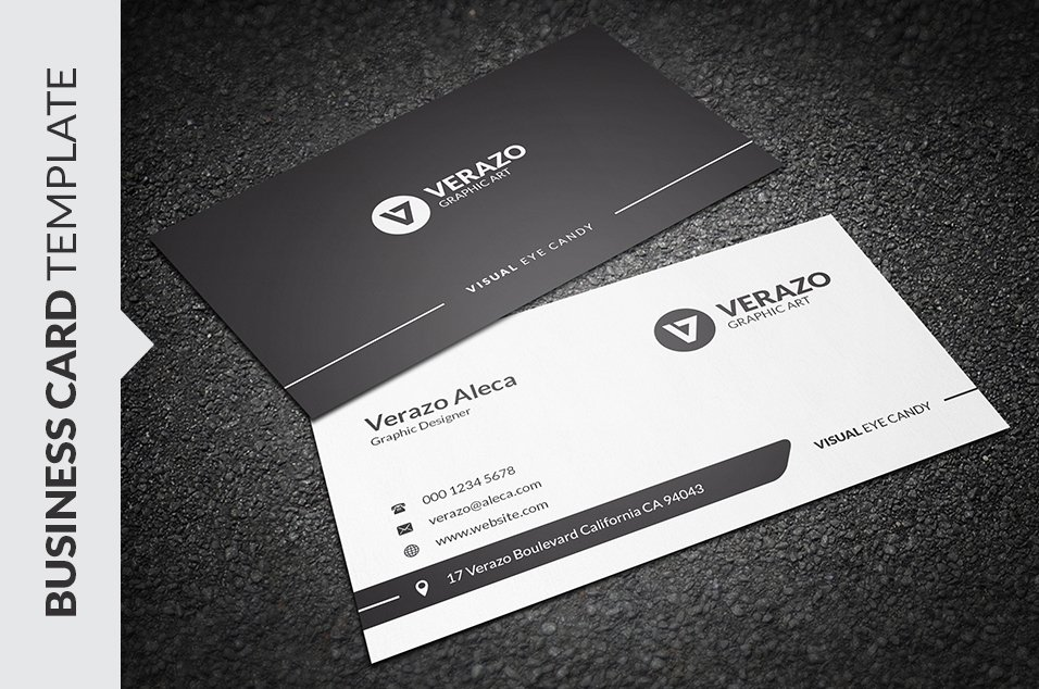 Clean Black & White Business Card ~ Business Card Templates ...