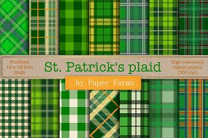 St. Patrick's plaid digital paper