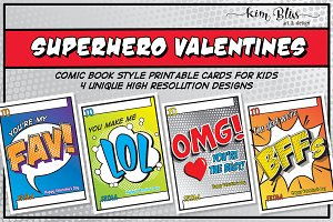 Printable Kids' SUPERHERO VALENTINES