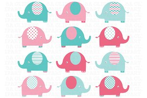 Elephants Clip Art (pink and aqua)