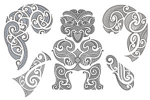 Maori tattoo patterns (5x)