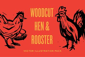 Woodcut Hen & Rooster Chickens