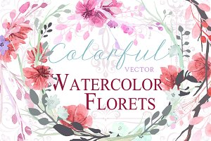 Watercolor Florets in vector (+PSD)