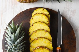 Cut and Whole Pineapple