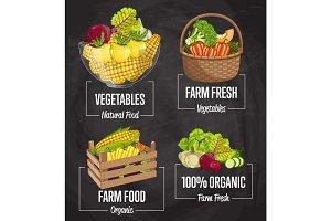 Organic farm food concept set