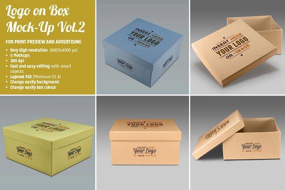 5 Photorealistic Logo on Box Mockups