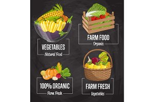 Organic farm food concept set