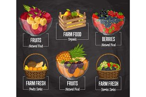 Organic farm fruit concept set