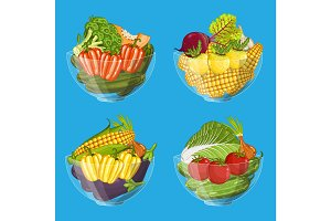 Fresh organic vegetable in glass bowl set