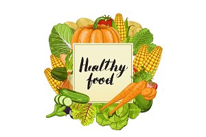 Healthy food banner with vegetable