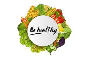 Be healthy round concept with vegetable
