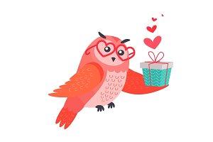 Owl Bird in Heart Shape Glasses Holds Present Box
