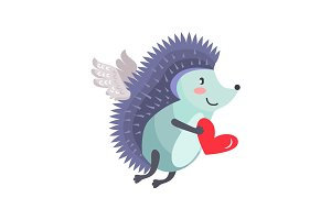 Hedgehog flies on wings of love with heart in hand