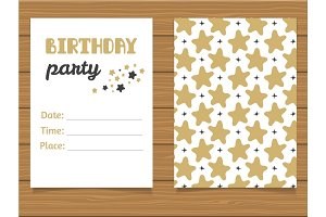 Beautiful modern invitation to a birthday party.