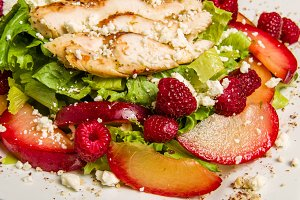 Chicken salad with raspberries