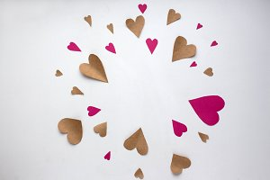 craft and pink paper hearts