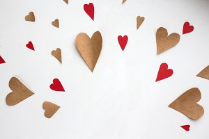 craft and red paper hearts