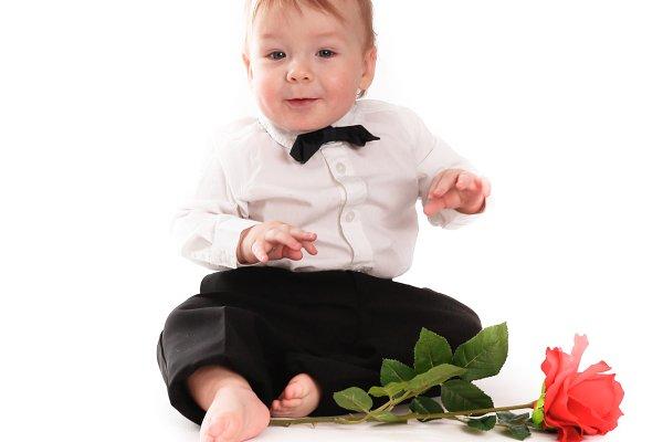 Baby boy gentleman with rose