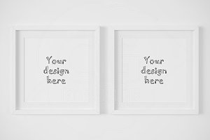 Two white matted square frame mockup