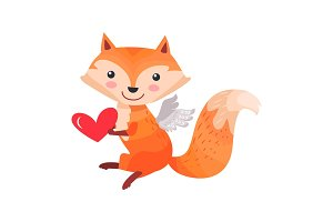 Fox with Angel Wings Holds Heart in Paws Isolated