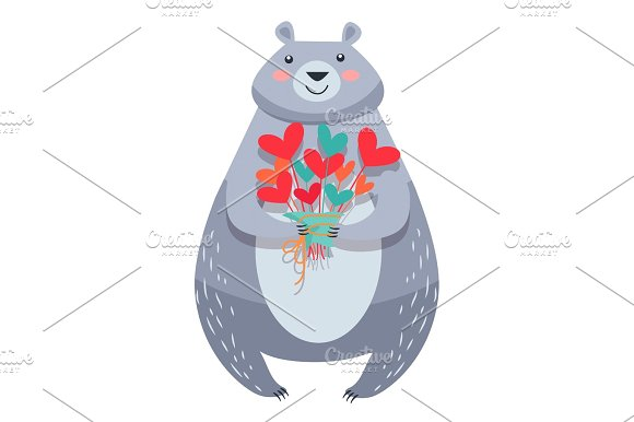 White Bear with Bouquet of Fowers Isolated Vector