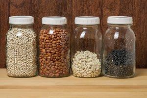 Dry beans in jars