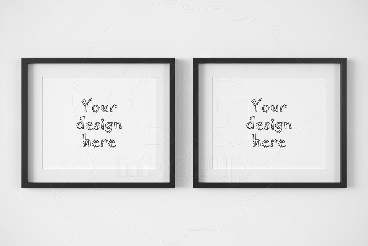 2 horizontal thin black frame mockup ~ Product Mockups ~ Creative Market