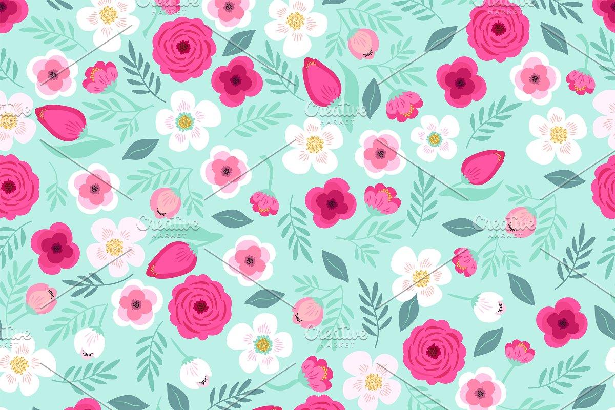 Cute Retro Floral Pattern Custom Designed Graphic Patterns