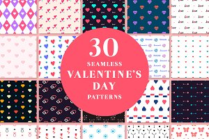 30 Seamleass Valentines day Patterns