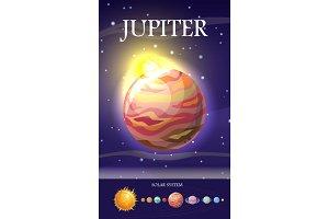 Jupiter Planet. Sun System. Universe. Vector.