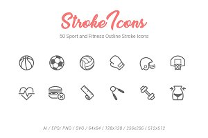 50 SportFitness Outline Stroke Icons