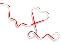 Red Heart Ribbon Valentines Day