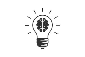 Light bulb with a brain inside icon