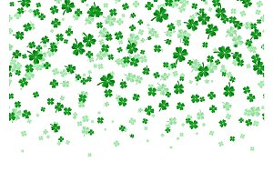 Vector illustration of floral seamless border with four leaved green clover