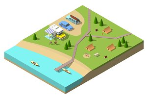 Isometric camping vector illustration