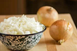 Bowl of choped onions
