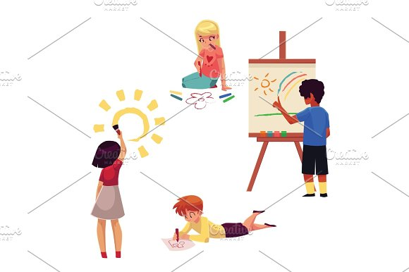 Kids Drawing With Pencils Crayons Paints Fingers Standing Sitting Lying