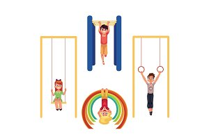 Kids at playground, hanging and climbing on monkey bars, swinging