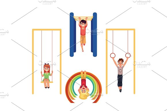 Kids At Playground Hanging And Climbing On Monkey Bars Swinging