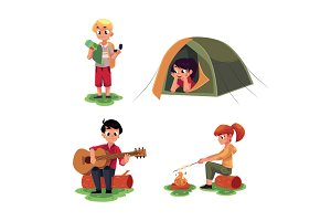 Kids studying map, in camping tent, playing guitar, frying marshmallow