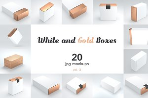 20+3 White and Gold Boxes Mockups