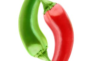 Red and green hot peppers isolated