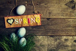 Easter or Spring Concept. Top View.