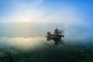 Morning on the lake Hintersee TIF