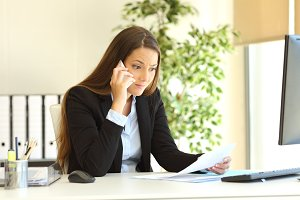 businesswoman calling customer