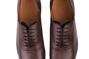 Brown leather shoes isolated