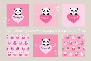Greeting cards with cute pandas